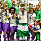 Real Madrid celebrate winning the UEFA Champions League Final at the National Stadium. Photo UEFA/POOL/PA Wire.