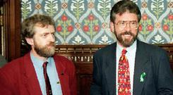 Jeremy Corbyn and (right) Gerry Adams in their younger days