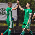 Goal-den touch: Alan Sothern (right) celebrates scoring with team-mate Neil Glassey