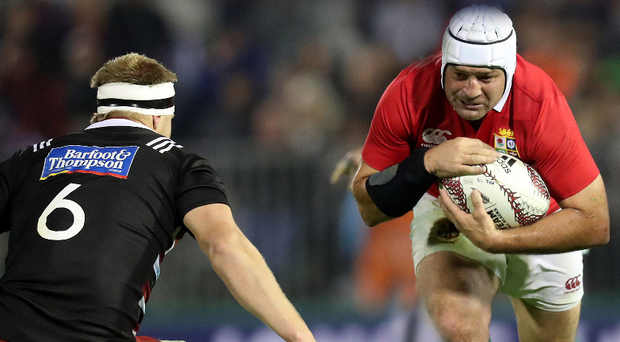 Determined: Rory Best in possession against the New Zealand Provincial Barbarians