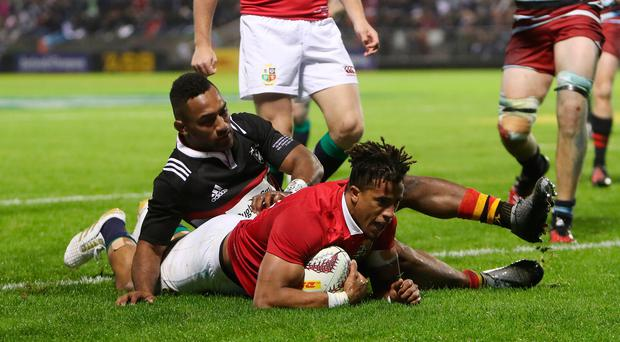 Touching down: Anthony Watson scores the only Lions try of the game in a poor team display that's been blamed on jetlag