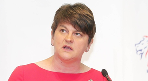 DUP leader Arlene Foster pictured at the party's manifesto launch