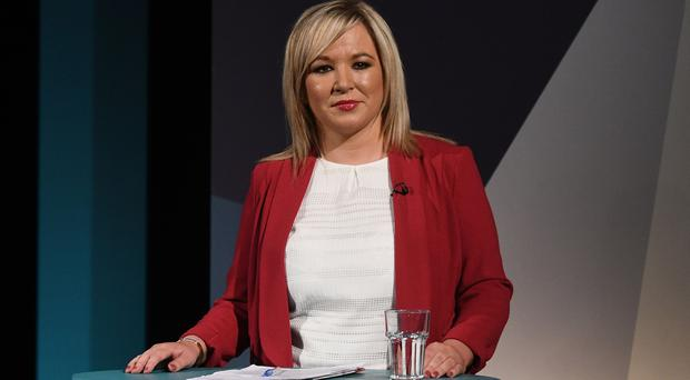 Sinn Fein's Michelle O'Neill during A television debate from the five main parties which was recorded at UTV in Belfast. Photo: Pacemaker