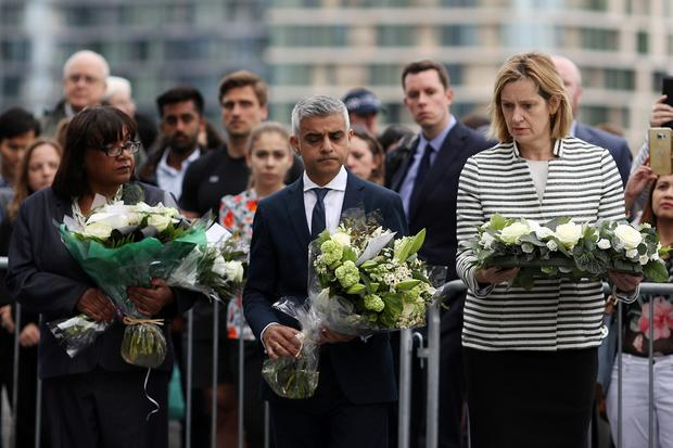 Shadow Home Secretary Diane Abbott, Mayor of London Sadiq Khan and Home Secretary Amber Rudd take part in a vigil for the victims of the London Bridge terror attacks, in Potters Fields Park on June 5, 2017 in London, England. (Photo by Dan Kitwood/Getty Images)