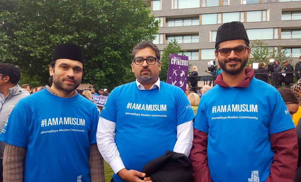 (left to right) Fareed Rehman, Usman Saifi and Imam Zishan Ahmed at a vigil in Potters Fields Park, central London in honour of the London Bridge terror attack victims. PA
