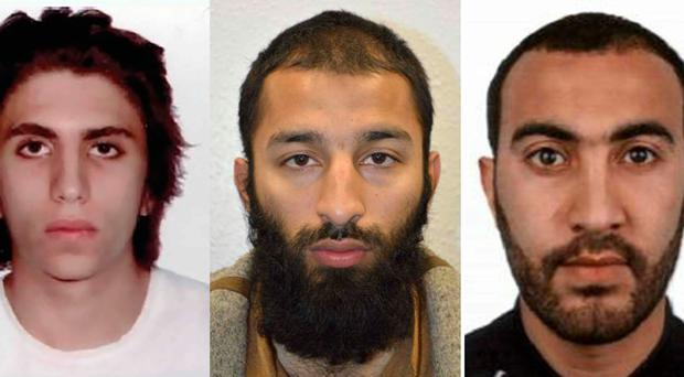 A combination of pictures released by the British Metropolitan Police Service in London on June 6, 2017 shows (L-R) Youssef Zaghba, Khuram Shazad Butt and Rachid Redouane believed by police to be the three attackers in the June 3 terror attack on London Bridge.