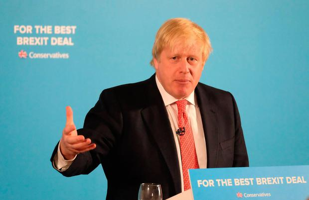 Foreign Secretary Boris Johnson delivers a speech to party supporters as he campaigns in Shildon Civic Hall on June 6, 2017 in Shildon, United Kingdom. All parties continue to campaign across the country ahead of the general election on June 8. (Photo by Ian Forsyth/Getty Images)