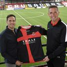 Sean Ward pictured at Seaview with Crusaders manager Stephen Baxter after the midfielder penned a two year deal with the Shore Road side. Picture by Stephen Hamilton / Press Eye.