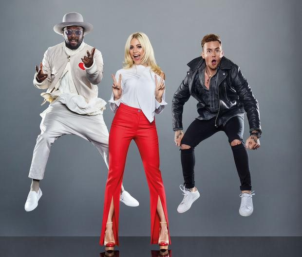 Lift off: Danny Jones with fellow judges on The Voice Kids, will.i.am (left) and Pixie Lott