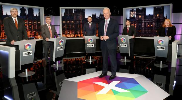 Noel Thompson chairs BBC Northern Ireland's Leaders' Debate with panellists, from left, John O'Dowd (Sinn Fein); Sir Jeffrey Donaldson (DUP); Colum Eastwood (SDLP); Robin Swann (UUP) and Naomi Long (ALL). Photo by William Cherry/PressEye