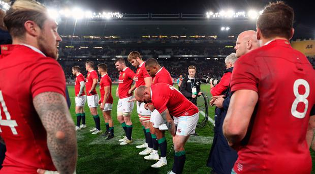 Early setback: The Lions wait for the victorious Blues after their defeat in Auckland yesterday. Photo: David Davies/PA