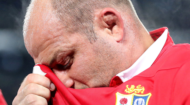 Dejected: Rory Best trudges off after the Lions' defeat by the Auckland Blues. Photo: Dan Sheridan/INPHO