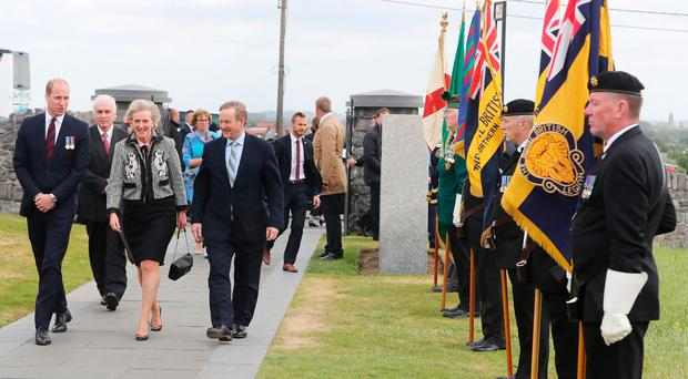 The Duke of Cambridge, Princess Astrid of Belgium and Enda Kenny arrive for the ceremony
