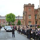 Pacemaker Press Belfast 08-06-2017: The funeral of Queen's University Vice-Chancellor Professor Patrick Johnston took place at St Brigid's Parish Church,in Belfast. Patrick will be laid to rest in Desertegney Cemetery in Buncrana.