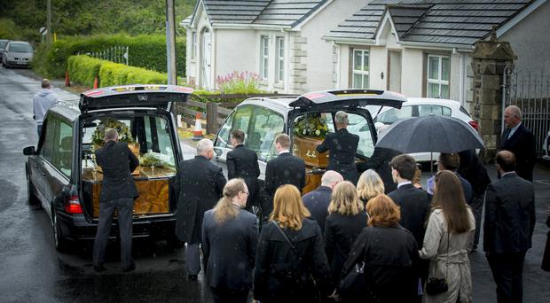 The Funeral of Michael and Marjorie Cawdrey found murdered in their home in Upper Ramone Park in Portadown takes place on June 8th 2017 (Photo - Kevin Scott / Belfast Telegraph)