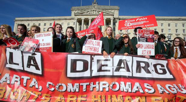 Irish Language protesters outside Stormont in March this year