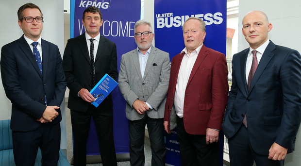 From left: Ulster Business editor David Elliott; Aidan Gough, InterTradeIreland's policy and strategy director; Tom Kelly, founder of Stakeholder Communications and former chair of Stronger in Europe; Will Taylor, founder of Glastry Farm Ice Cream, and Johnny Hanna, partner at KPMG