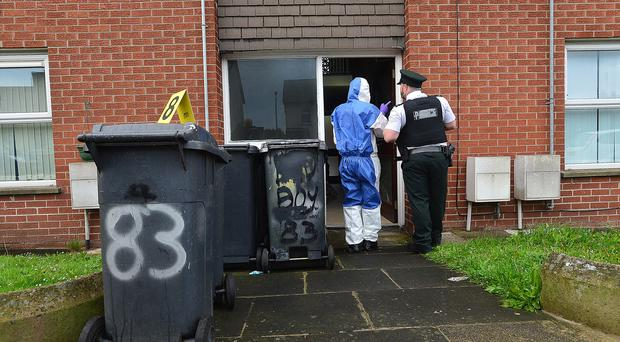 PSNI police and forensics pictured at the scene of a incident in Mark Street Newtownards, Northern Ireland. Picture By: Arthur Allison: Pacemaker.
