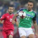 On the ball: Josh Magennis was a thorn in the side of Azerbaijan in November, and now he's aiming for a repeat performance