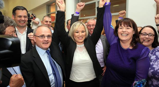 Michelle Gildernew celebrating with Barry McElduff and Michelle O'Neill at the election count at Omagh Leisure Complex Omagh for West Tyrone and Fermanagh & South Tyrone. Photo by John McVitty / Press Eye.