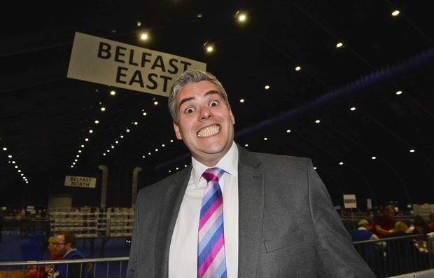 Winner: Gavin Robinson of the DUP celebrates holding on to his East Belfast seat. Picture Mark Marlow/pacemaker press