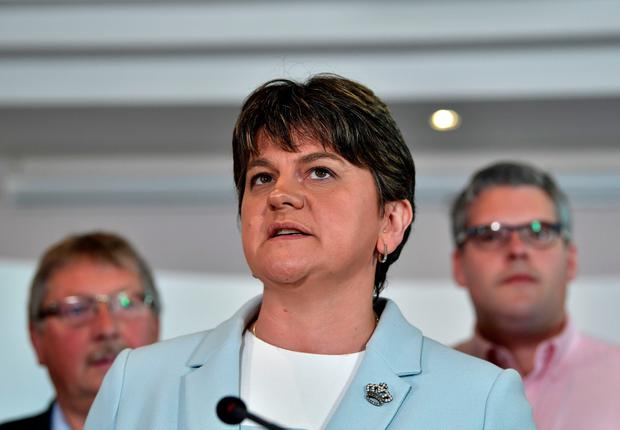 DUP leader and Northern Ireland former First Minister Arlene Foster (C) holds a brief press conference with the DUP's newly elected Westminster candidates who stood in the general election on June 9, 2017 in Belfast, Northern Ireland. (Photo by Charles McQuillan/Getty Images)