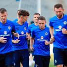 Northern Ireland's Tom Flanagan (centre left) during a training session at Tofiq Bahramov Stadium, Baku, Azerbaijan. Tim Goode/PA Wire.