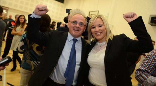 Barry McElduff is congratulated by Sinn Fein's Northern leader Michelle O'Neill
