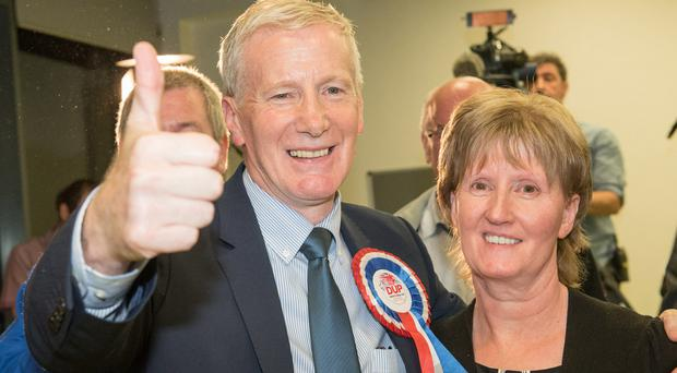 Gregory Campbell of the DUP celebrates retaining his seat in East Londonderry with his wife Frances