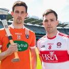 Final battle: Armagh's David Carville and Oisin McCloskey of Derry will be on the hunt for Nicky Rackard glory at Croke Park