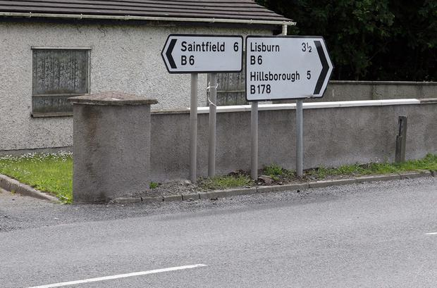 The incident happened on the Saintfield Road at about 8pm on Friday