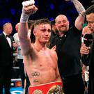 Ryan Burnett celebrates beating Lee Haskins (not pictured) in the IBF World Bantamweight Championship bout.