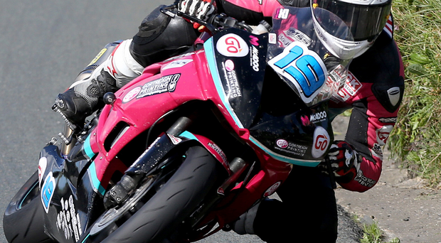Flying finish: James Cowton in Isle of Man action