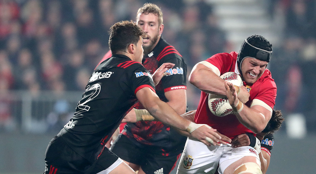 Hard yards: Sean O'Brien battles to break the line in the Lions' victory against the Crusaders