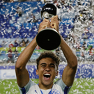 Top of the World: Dominic Calvert-Lewin celebrates