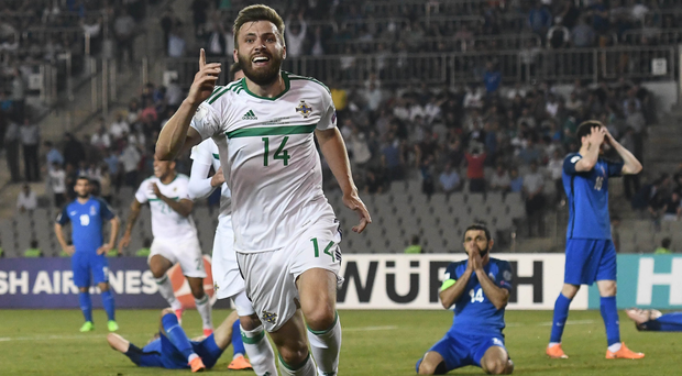 Number one: Stuart Dallas celebrates his last-ditch winner for Northern Ireland