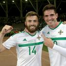 Northern Ireland's Stuart Dallas celebrates with Kyle Lafferty after scoring against Azerbaijan
