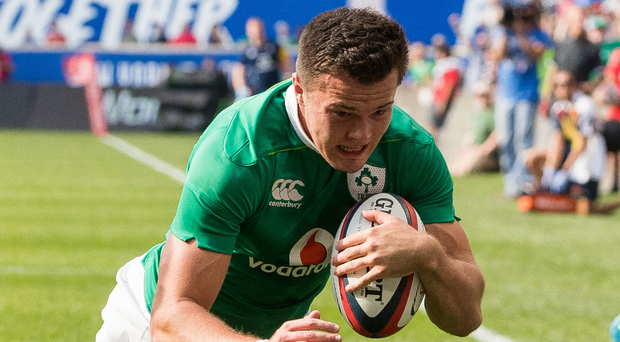 Debut try: Jacob Stockdale scores Ireland's second touchdown against USA Eagles