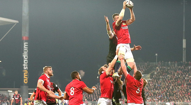 My ball: the Lions' Peter O'Mahony beats Luke Romano of the Crusaders in the lineout.