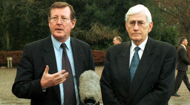 Divided opinion: former First and Deputy First Minister Lord Trimble and Seamus Mallon