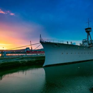 The HMS Caroline is moored in Belfast's Titanic Quarter.