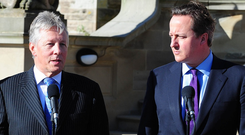 Prime Minister David Cameron's representatives met with Peter Robinson's DUP and drafted an agreement should the Northern Ireland party hold the balance of power.