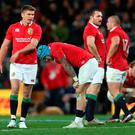 British and Irish Lions' Owen Farrell (left) and Jack Nowell come to terms with the second defeat of the Tour.