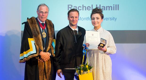 Rachel Rose Hamill from Portadown, receiving the National Footwear Student of the Year from Jeremy Blanford, Master of the Worshipful Company of Cordwainers and international footwear designer Nicholas Kirkwood. [Photo © Mark Witter Photography]