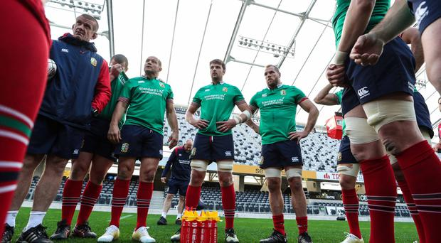 Ulster team-mates Rory Best and Iain Henderson during yesterday's Captains Run.