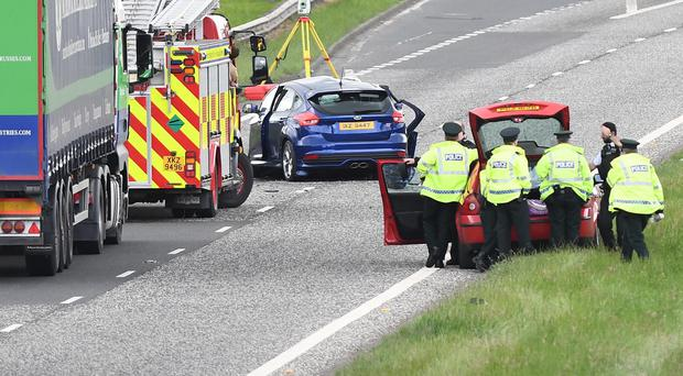 Police and emergency service at the scene of serious crash on the A1 near the Outlet Centre in Banbridge. Photo: Colm Lenaghan/Pacemaker