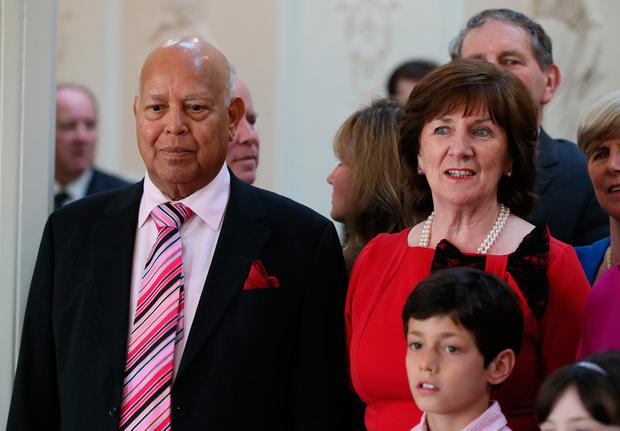 Fine Gael leader Leo Varadkar's parents Ashok and Miriam at Aras an Uachtarain in Dublin to see him receive his seal of office as Taoiseach from President Michael D Higgins. PA