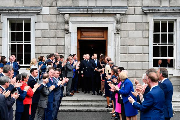 Taoiseach Leo Varadkar is congratulated by TD's and well wishers on the steps of Leinster House after being elected as Taoiseach on June 14, 2017 in Dublin, Ireland. (Photo by Charles McQuillan/Getty Images)