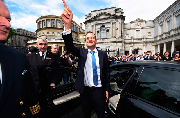 Taoiseach Leo Varadkar waves to TD's and well wishers at Leinster House after being elected as Taoiseach on June 14, 2017 in Dublin, Ireland. (Photo by Charles McQuillan/Getty Images)