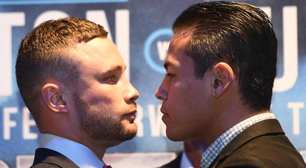 Face off: Carl Frampton and Andres Gutierrez. Photo: Colm Lenaghan/Pacemaker